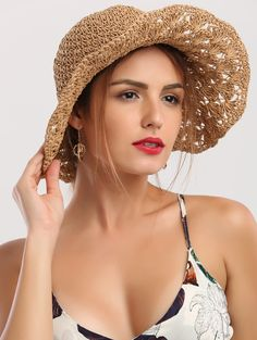 Wide Brim Folding Crocheting Straw Hat