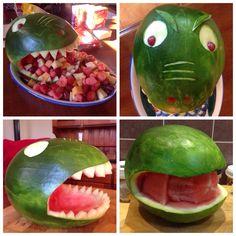 Dinosaur Head Watermelon Fruit Bowl More