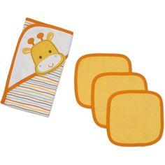 Gerber Newborn Baby 4 Piece Hooded Towel and Washcloth Set walmart