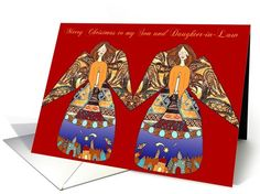 son and daughter-in-law merry christmas angels with candle card