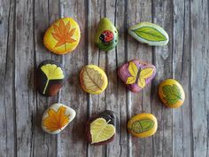 Autumn decor - Pebbles art - Autumn leaves - unique gift for kids - hand painted…