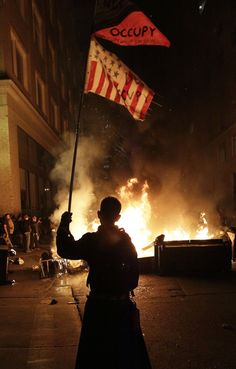 Protesters were lighting bonfires and there are reports alleging that the police used flash-bang devices......Occupy Oakland
