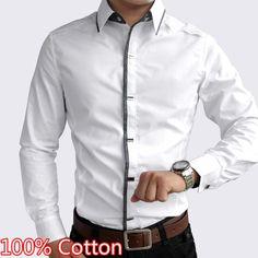 100% de algodón blanco y negro vestido de los hombres 2014 camisa de primavera y otoño de los hombres de manga larga casual slim fit camisetas social