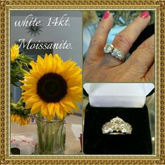 Moissanite white 14kt, 25 diamonds Size 5💋 Engagement ring. Beautiful authentic 1carat plus moissanite stone surrounded with 12 small real diamonds on each side. 14kt. Gold. Size 5. Center stone 7.4mm. 14kt. gold Jewelry
