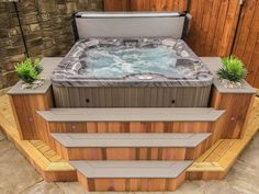 Fiji with angled cedar steps & planters with LED lighting   Gallery Hot Tub Gazebo, Hot Tub Garden, Hot Tub Backyard, Hot Tub Surround, Hot Tub Accessories, Tub Enclosures, Jacuzzi Outdoor, Outdoor Hot Tubs, Outdoor Spa