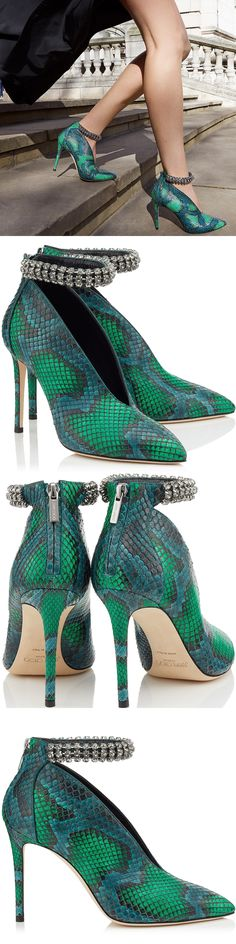 Perfectly embodying a feminine and powerful vibe is Lux in bottle green and pop green matt painted python. A deep V travels down the front of the upper providing a sexy reveal of the foot. The bootie is topped off with a crystal encrusted ankle strap which is a truly stunning jewellery piece, creating the ultimate rock chic look.