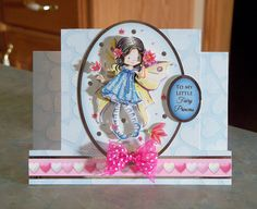 Handmade Center Step Birthday card was made using the Fairy Sweethearts kit by Hunkydory and a center step template by HOTP.