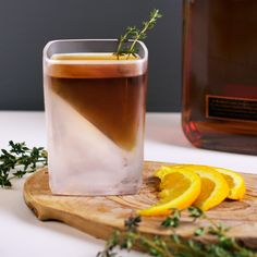 """I filled it with bourbon, a splash of soda water, a squeeze of orange and some thyme to round out the aromatics. It seemed to work pretty well, if I do say so myself."" - Nicholas Trobiano trying out our Whiskey Wedge"