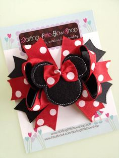 Minnie Mouse Bow - Classic red and black Minnie Mouse Bow - Darling Little Bow Shop on Etsy, $10.95