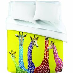 DENY Designs Clara Nilles Jellybean Giraffes Duvet Cover, Queen by DENY Designs. $182.67. Manufacturing: 6 color dye process, custom printed for every order. Color top: full color, color bottom: white. Fabric: ultra soft, 100-percent polyester microfiber. Closure: metal snaps seen in snap closure view. Metal snaps for closure. Turn your basic, boring down comforter into the super stylish focal point of your bedroom with this DENY designs duvet cover. Custom printed when you ord...