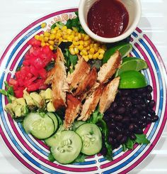 """TAG A FRIEND WHO LOVES SALADS OR NEEDS A NEW DINNER IDEA:  dinner inspiration photo brought to you by #MAwarrior @jazzysnaphappy now I'm hungry! Two More weeks until we are done with this current challenge and I cannot wait for the next one!  This is what we call a power salad or more like south western grilled """"bbq"""" chicken salad  for #ma30day who says eating healthy is not tasty  lime and sauce on the side.  If I can have this salad for the rest of my life I wouldn't mind! Would you?  A…"""