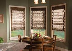 kitchen valances bay: kitchen bay windows in white with roman blind valance and wooden