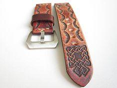 leon / Hnedý kožený remienok so vzorom, 24mm