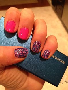 Budding Cobalt with pink accent nails available at http://SherriSnowden.jamberrynails.net