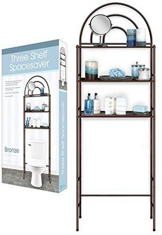 DINY Home Collections 3 Shelf Over The Toilet Spacesaver Easy to Assemble Bronze Metal Metal Bathroom Shelf, Bathroom Storage Over Toilet, Toilet Storage, Bathroom Medicine Cabinet, Extra Storage Space, Storage Spaces, Space Saver Dining Table, Diy Projects Small, Diy Kitchen Cabinets