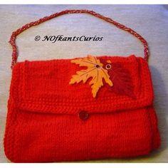 Firey Leaves! Hand Knitted & Crocheted Handbag, Bohemian Glass Bead Strap. £20.00 Felt Leaves, Handmade Handbags, Crochet Handbags, Knitting For Beginners, Small Bags, Hand Stitching, Hand Knitting, Stitch Patterns, Glass Beads
