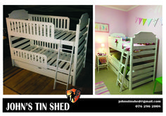 Double Bunk bed Double Bunk Beds, Tin Shed, How To Remove Rust, Plasma Cutting, Custom Woodworking, Restoration, Toddler Bed, Furniture, Home Decor