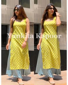 There is never a wrong time for POLKA DOTS 🧿 Summer essentials Pure cotton polka kurta teamed up palaZos to beat the heat is a perfect… Simple Kurta Designs, Stylish Dress Designs, Designs For Dresses, Stylish Dresses, Stylish Kurtis, Trendy Kurti, Salwar Designs, Kurta Designs Women, Kurti Designs Party Wear