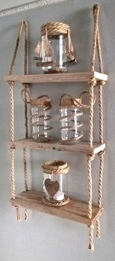 Nautical Rope Shelves - Floating Hanging Rope Shelves - Wall Shelves - Rustic Shelves - Hanging Shelves For Just About Anywhere