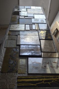 Glass samples in gold and silver leaf
