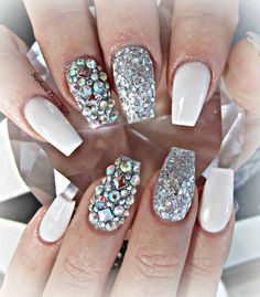 coffin Nails | White and silver coffin nails