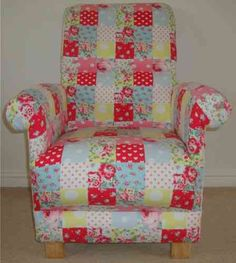 Cath Kidston Patchwork Fabric Child's Chair Girl's Bedroom Nursery Shabby Chic
