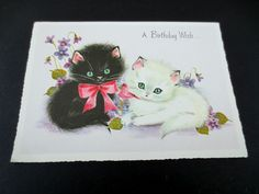# J447- Vintage Birthday Greeting Card Pussy Cats Sitting around Purple Pansies FOR SALE • $12.00 • See Photos! Money Back Guarantee. &am...
