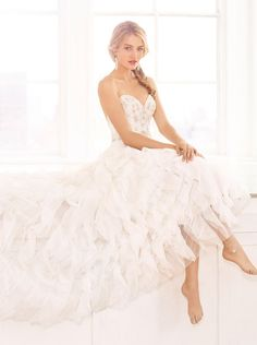 chiffon a line wedding dress