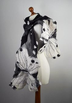 Felted Scarf   Butterfly Long Wrap Scarve  Felt Nunofelt Nuno felt Silk Silkyfelted  Eco shawl Fiber Art. $99.00, via Etsy.