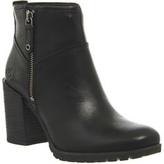 Timberland Swazey Zip Ankle Boots ($200) ❤ liked on Polyvore featuring shoes, boots, ankle booties, ankle boots, black smooth leather, women, leather booties, black ankle boots, high heel boots and leather bootie