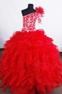 Ruffled Layers and Embroidery for One Shoulder Pageant Dress for Girls