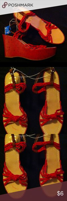 RED & BLUE ROPE WEDGE SANDALS W/BROWN STRAPS 8 NWT CHUNKY RETRO SANDALS WITH BROWN VEGAN LEATHER STRAPS MISS TRISH OF CAPRI Shoes Wedges