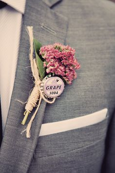 Bottle Cap Boutonniere | https://www.theknot.com/real-weddings/a-quirky-retro-wedding-in-toronto-on-album