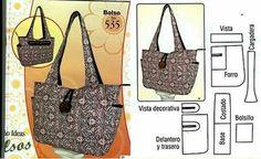 Bolso y patrón Diy Bags Patterns, Handbag Patterns, Diy Tote Bag, Denim Bag, Fabric Bags, Girl Backpacks, Crochet Purses, Handmade Bags, Bag Making