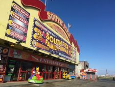 No visit to Blackpool is complete without a visit to the Pier! Blackpool South Pier is the one near to the Pleasure Beach and Sandcastle Waterpark. Fish And Chips Restaurant, Family Bar, Inflatable Slide, Fun Days Out, Seaside Towns, Beer Garden, Blackpool, School Holidays, Photo Studio