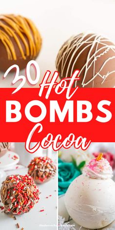 Over 30 hot cocoa bomb recipes to make from unicorns, snowmen, grinch, peanut butter cup, eggnog, peppermint, banana, strawberries and cream, cookies and cream, mexican hot chocolate, and so many more flavors. Enjoy a cocoa bomb explosion with marshmallows, sprinkles, and peppermint candies in a hot chocolate bomb on a chilly day.