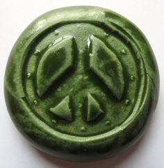 PEACE SIGN Pocket Stone  Ceramic  Kelp Forest by InnerArtPeace, $7.00