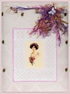 Lavendula Loveliness: Collaged diamond with young girl and roses inset by Sandra Foster.