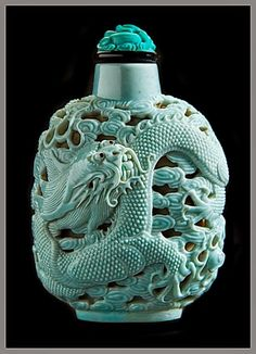 Collection China Artificial Turquoise Snuff bottle Carving Dragon and Phoenix