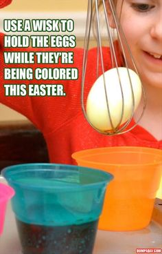 a use a wisk to hold the easter egg when   coloring it, why have I never thought of this??