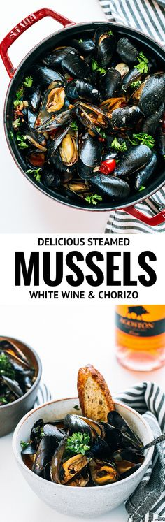 simplest way to cook mussels, the most satisfying result! In white wine, tomatoes, chorizo MSG 21+ #ad #GarnarchaDay #LoveGarnacha