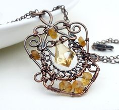 Wire wrap jewelry, copper and citrine necklace, golden yellow copper necklace, copper jewelry. $95.00, via Etsy.