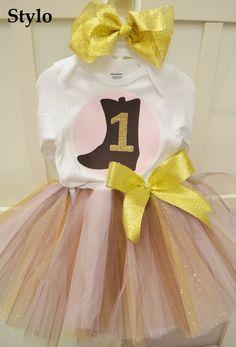 Birthday Tutu Set order or follow us on Facebook ; www.facebook.com/... #birthday #pinkandbrowntutu #cowgirl #styloboutique