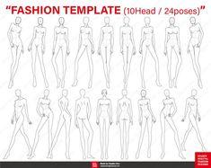 FASHION FIGURE TEMPLATES (10 Head / 24 poses) for Fashion illustration, Fashion croquis, Fashion fla