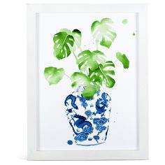 Ginger Jar & Monstera Leaf Print