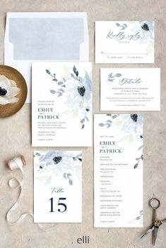 Gorgeous floral wedding stationery suite in dusty blue. #weddingstationery #weddinginvite #weddinginvitations #weddinginvitation #weddings #wedding #weddingideas