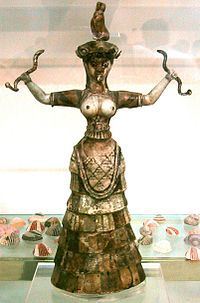 Minoan Snake Goddess  Faience  circa 1600 BCE  Heraklion Archaeological Museum  Crete