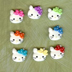 Polka Dot Bow Hello Kitty Group Polymer Clay Beads and Bow Centers, Hair Bow Centers, Pendant, jewelry Charm. $9.99, via Etsy.