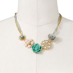 ShopStyle: Lauren ConradLc gold tone simulated crystal and simulated pearl flower multistrand necklace