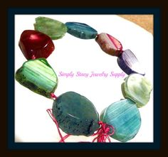 Large Multi Color Agate Slab Nugget Focal by StacyJewelrySupply, $32.99